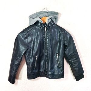 H&M Black Lined Faux Leather Jacket with Hoodie